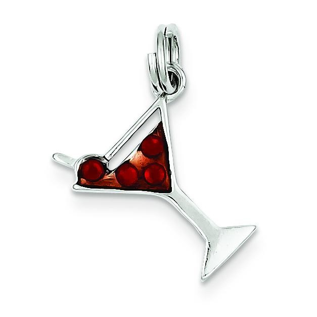 Cocktail Glass Red CZ Charm in Sterling Silver