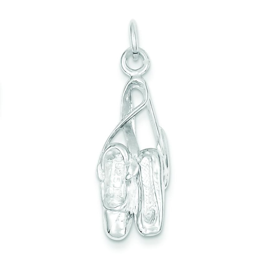 Ballet Slippers Charm in Sterling Silver