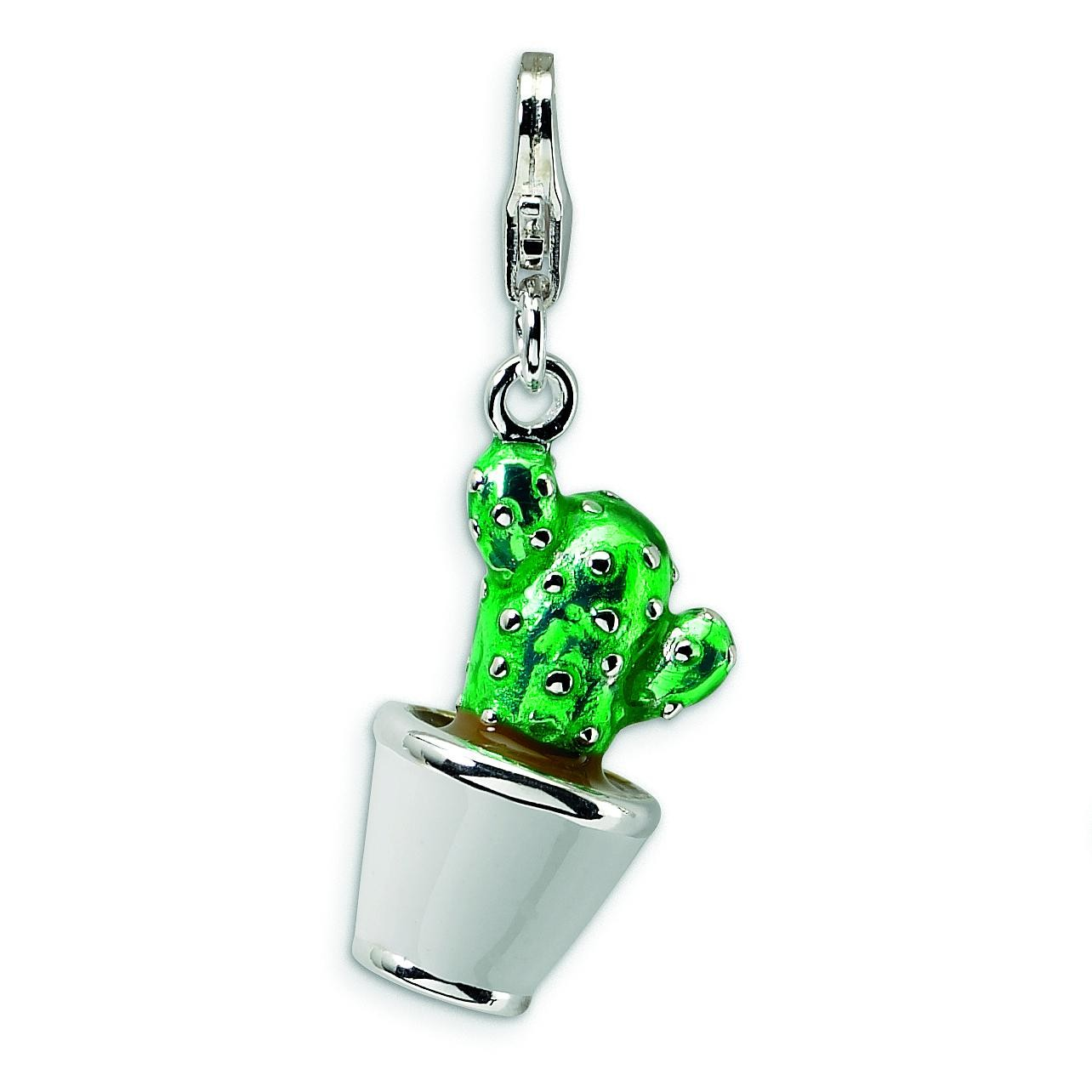 Potted Green Cactus Lobster Clasp Charm in Sterling Silver