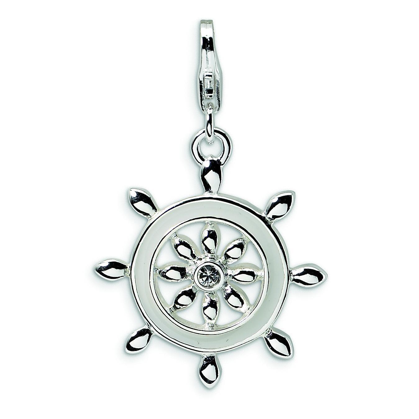 Enamel Swarovski Crystal Ship Wheel Lobster Charm in Sterling Silver