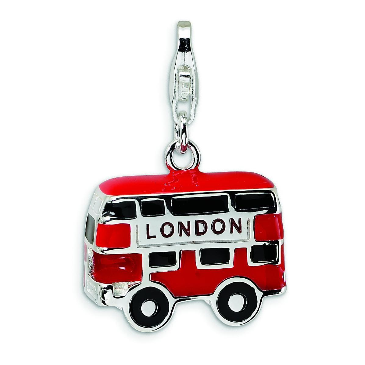 Enamel Double Decker London Bus Lobster Clasp Charm in Sterling Silver