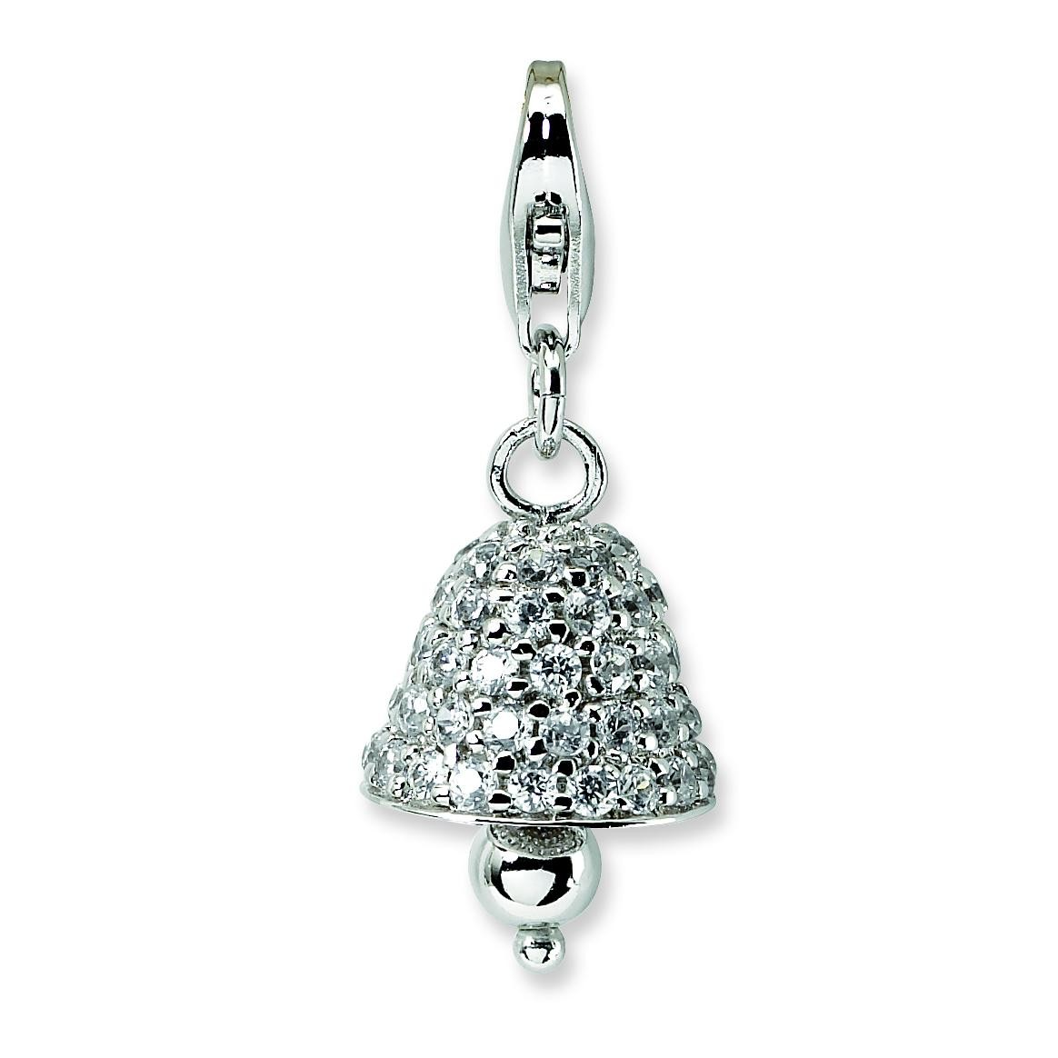 CZ Bell Lobster Clasp Charm in Sterling Silver