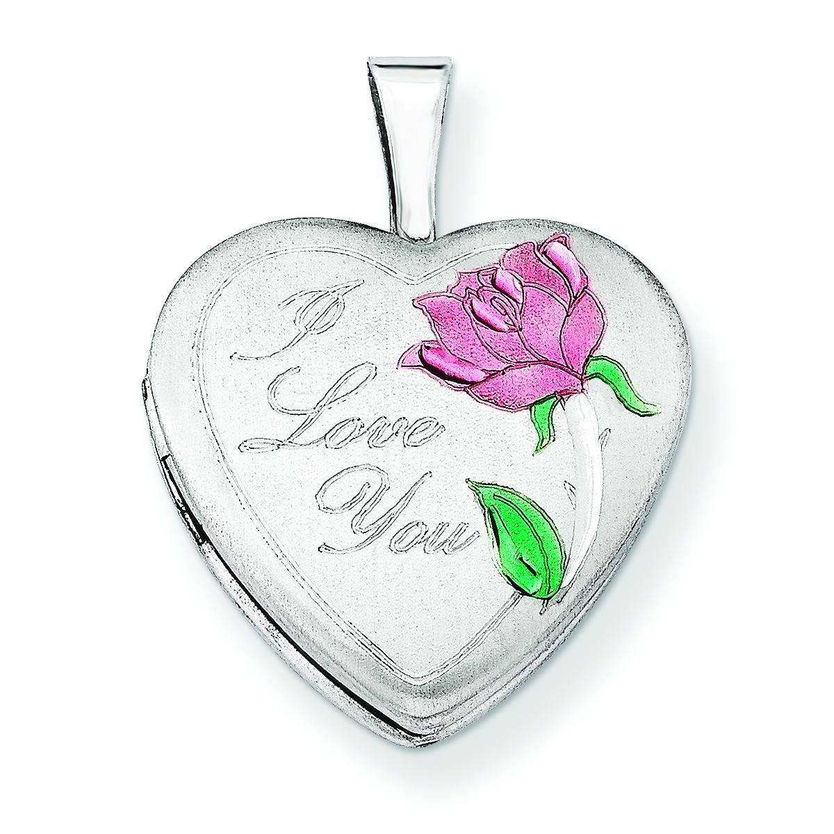 I Love You Heart Locket in Sterling Silver
