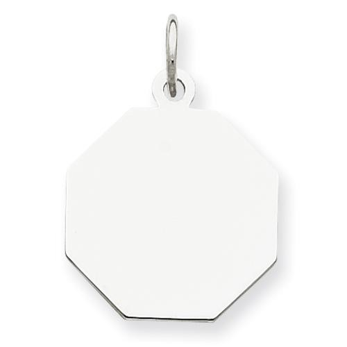 Engraveable Octagon Disc Charm in Sterling Silver