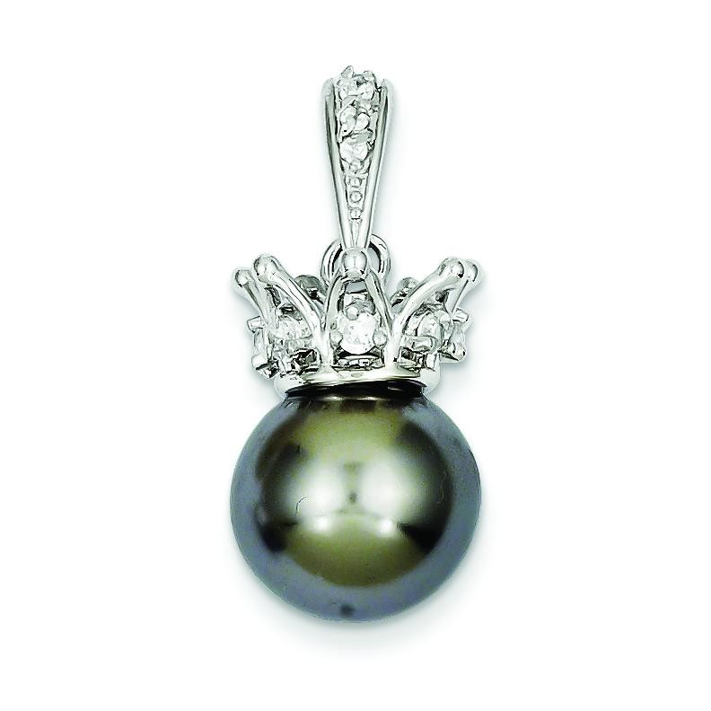 Grey Syn Pearl CZ Crown Pendant in Sterling Silver