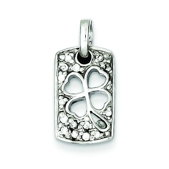 Lucky CZ Shamrock Charm in Sterling Silver