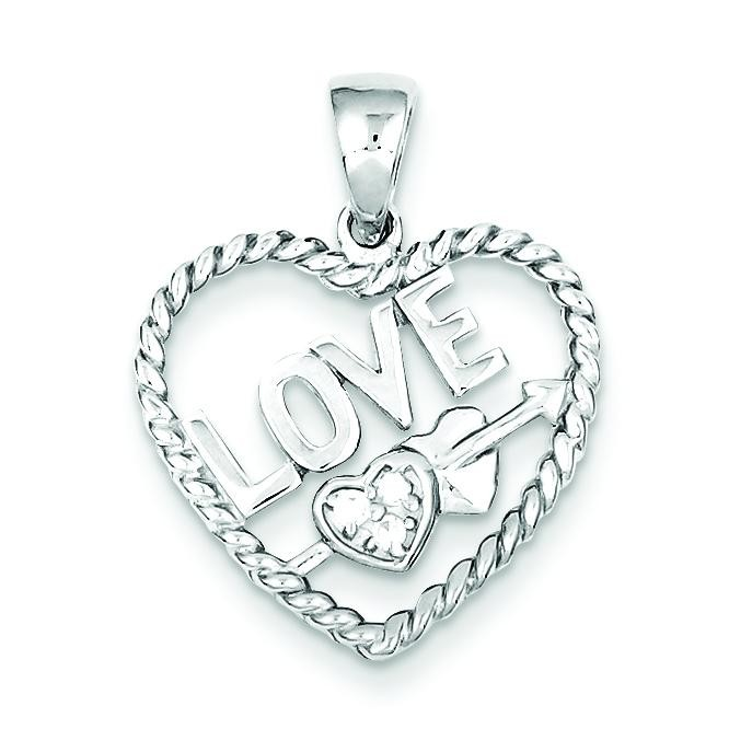 CZ Love Heart Pendant in Sterling Silver
