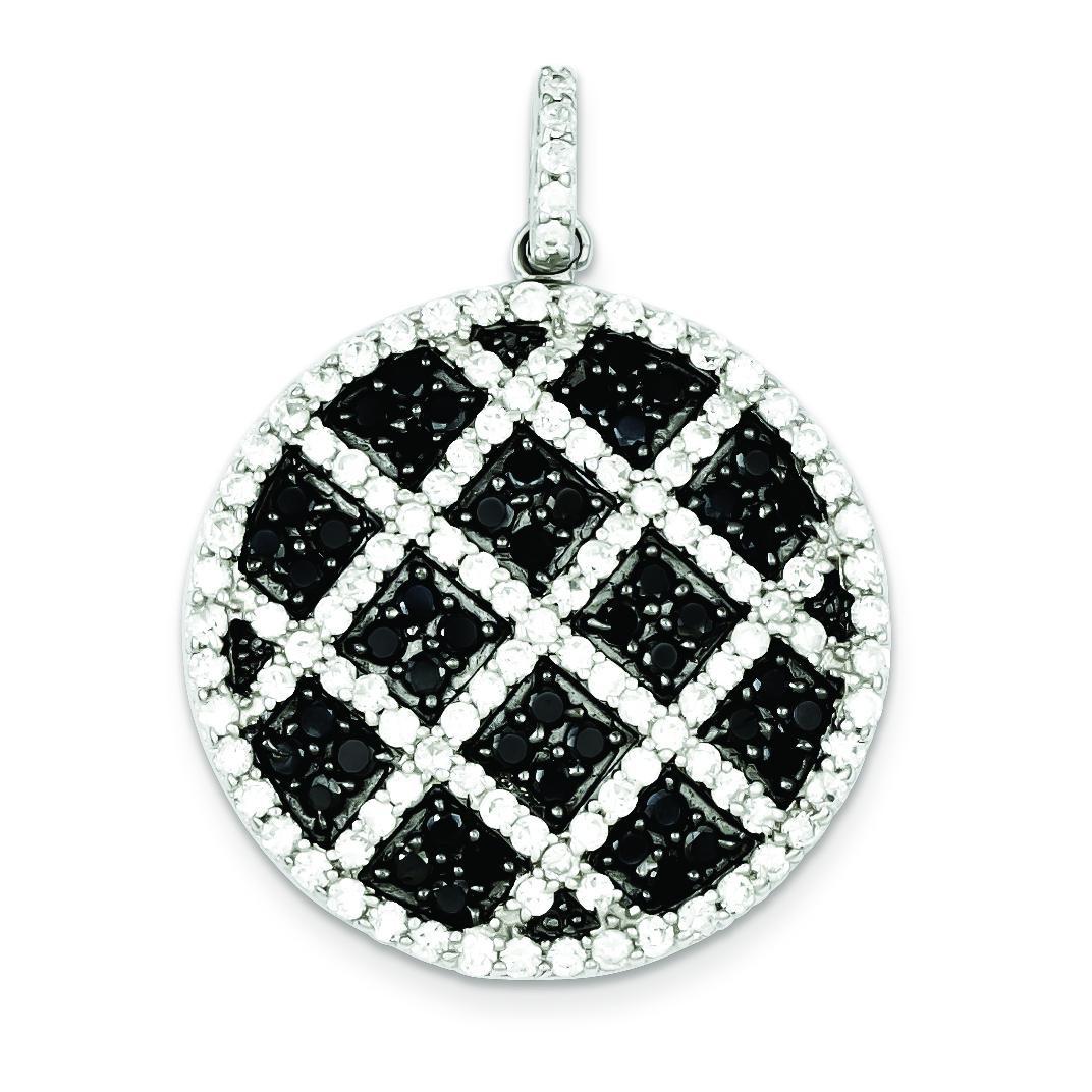 Black White CZ Checkered Pendant in Sterling Silver