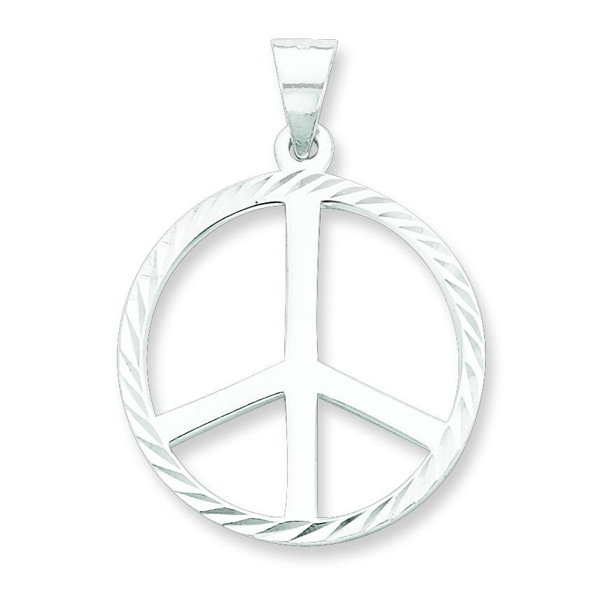 Diamond Cut Peace Symbol Pendant in Sterling Silver
