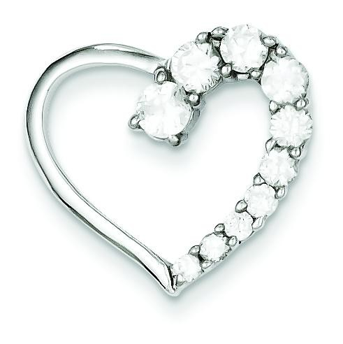 CZ Heart Journey Pendant in Sterling Silver