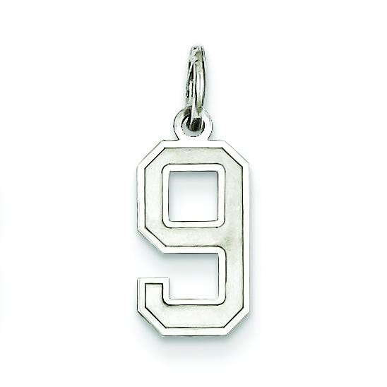 Small Number 9 in Sterling Silver