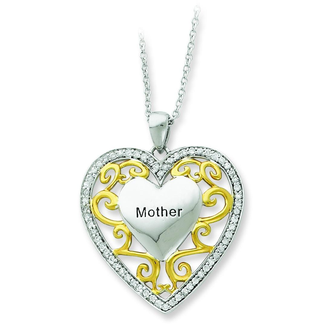 Mother In Heart Necklace in Sterling Silver