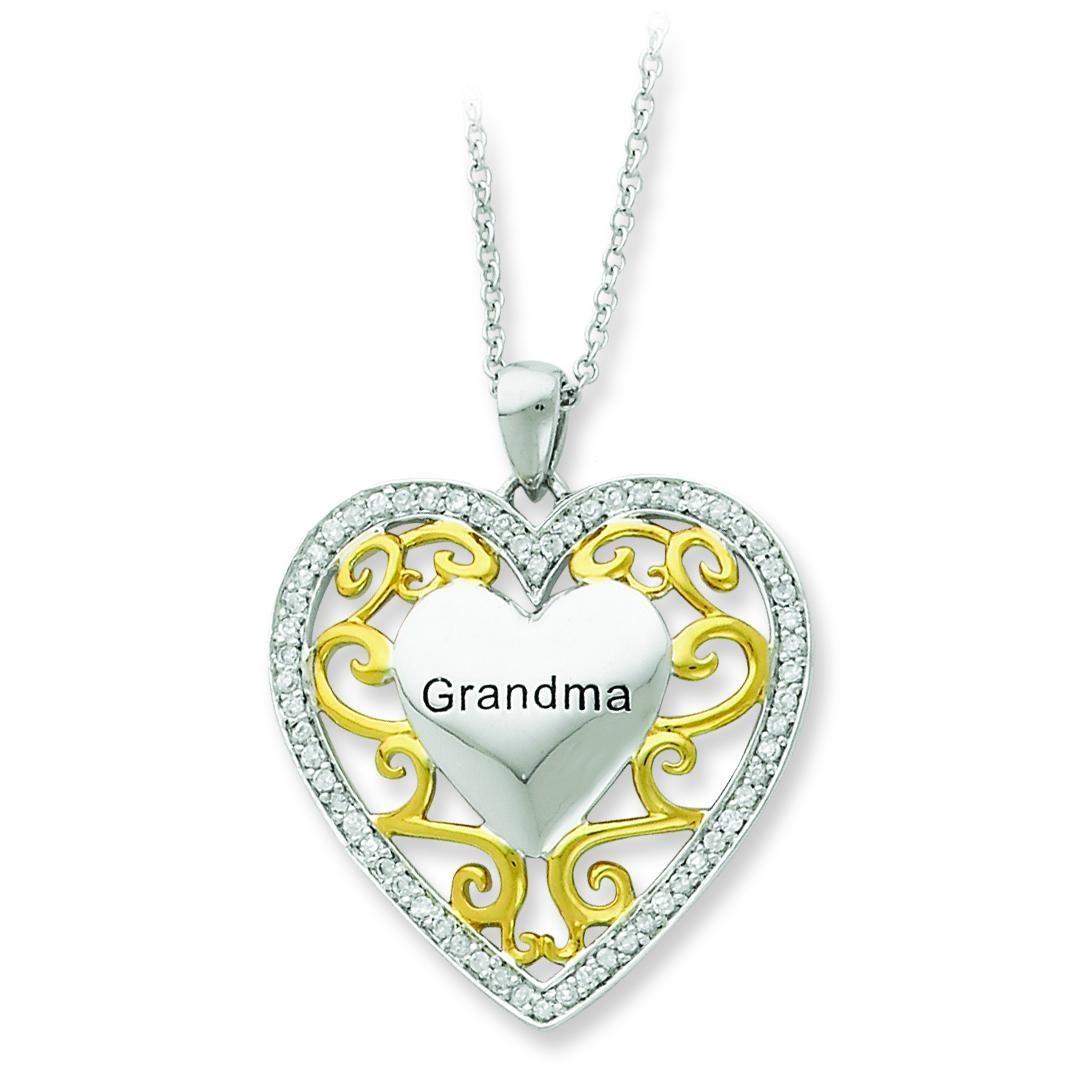 Grandma In Heart Necklace in Sterling Silver