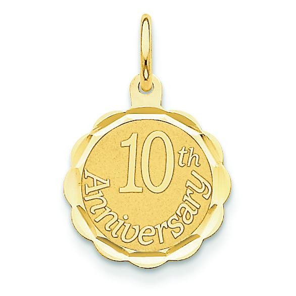 Happy 10th Anniversary Charm in 14k Yellow Gold