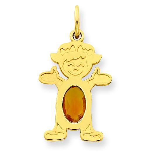 Girl Oval Genuine Citrine Nov in 14k Yellow Gold