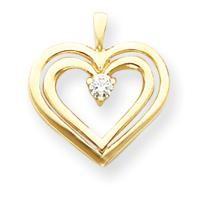 Diamond Heart Pendant in 14k Yellow Gold