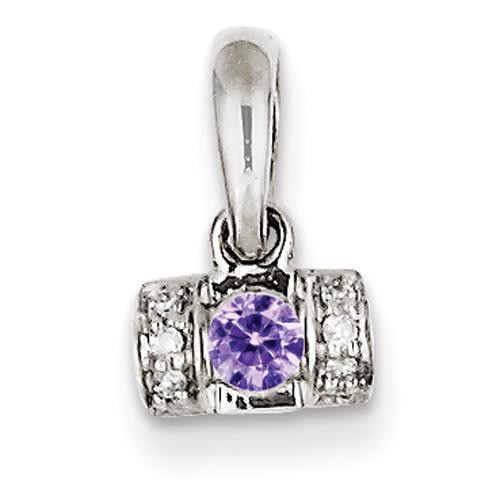 Family Jewelry Genuine Stone Diamond Set Pendant in 14k White Gold