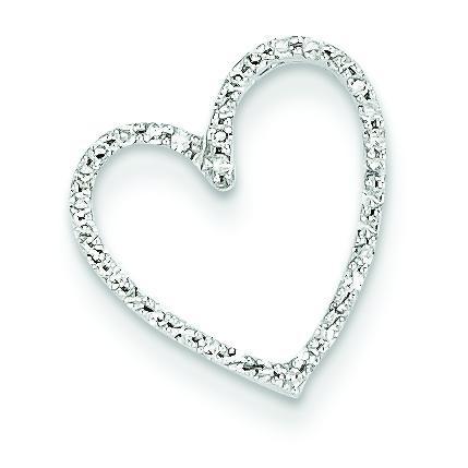Diamond Vintage Heart Pendant in 14k White Gold