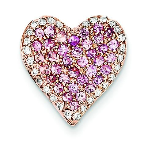 Diamond Pink Sapphire Vintage Heart Pendant in 14k Rose Gold