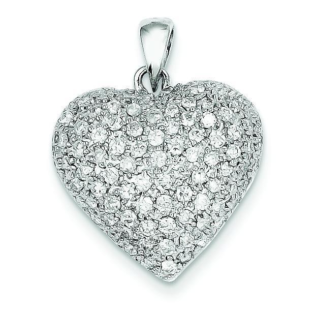 Fancy Diamond Heart in 14k White Gold