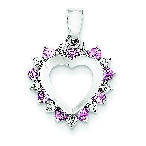 Diamond Pink Sapphire Heart Pen in 14k Yellow Gold