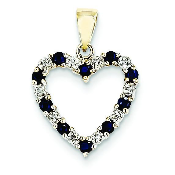Diamond Sapphire Heart Pendant in 14k Yellow Gold