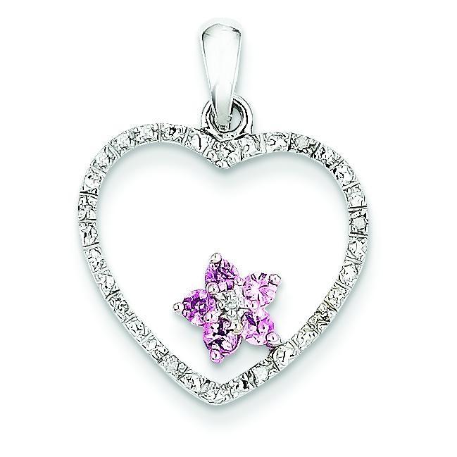 Diamond Pink Sapphire Heart Pendant in 14k Yellow Gold