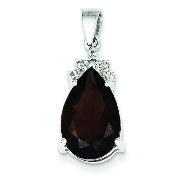 Smokey Quartz Diamond Pendant in 14k White Gold