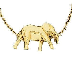 Elephant Pendant Slide in 14k Yellow Gold
