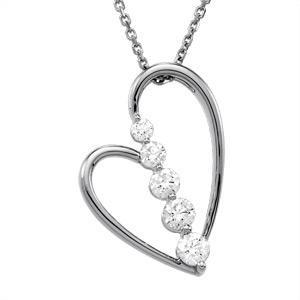 Journey Diamond Heart Pendant in 14k White Gold (0.5 Ct. tw.) (0.5 Ct. tw.)