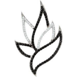 Black Spinel Diamond Pendant in Sterling Silver (0.2 Ct. tw.) (0.2 Ct. tw.)