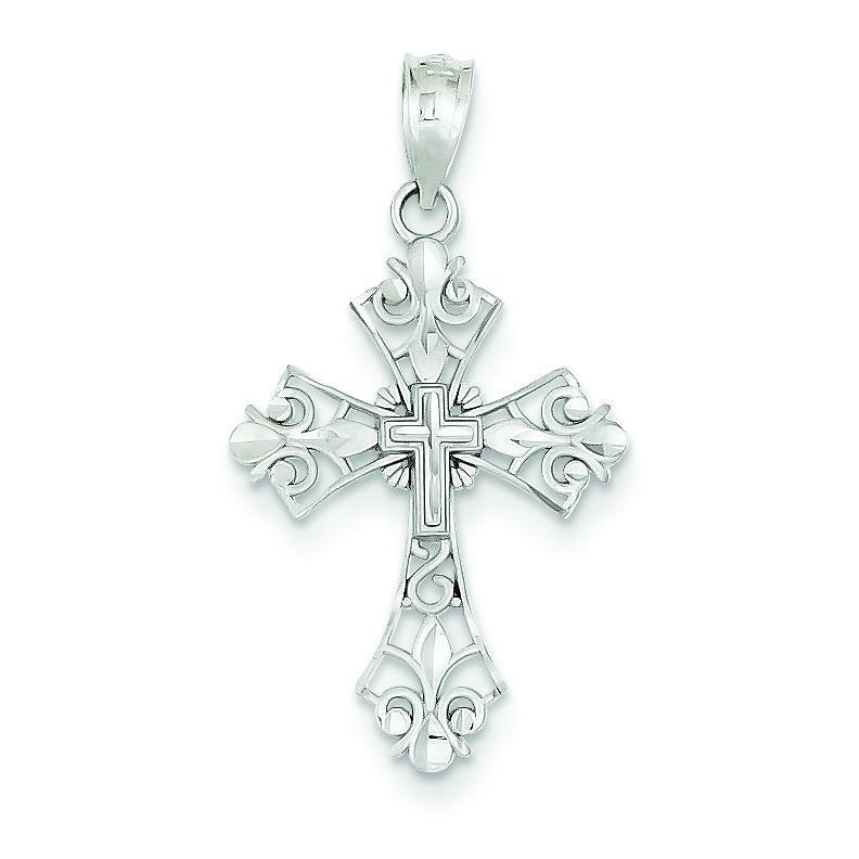 Filigree Fleur De Lis Cross in 14k White Gold