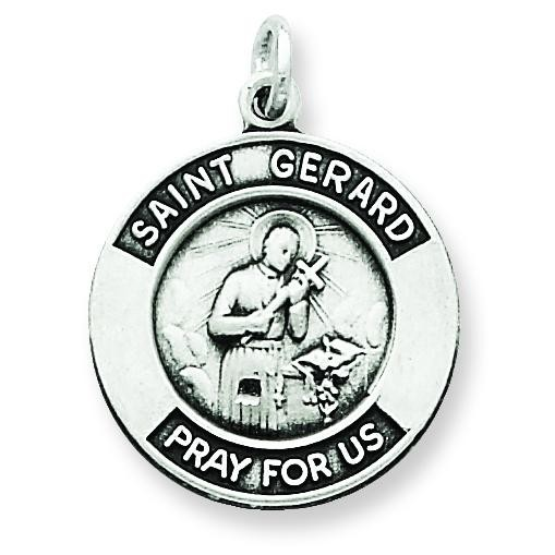 Oxidized St Gerard Medal Pendant in Sterling Silver