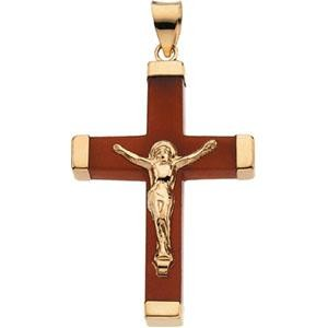 Red Jade Square Crucifix in 14k Yellow Gold