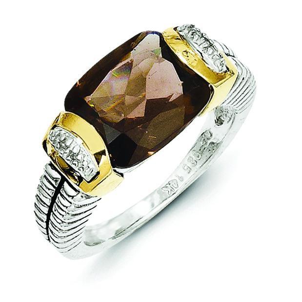Smokey Quartz 0.16 Ct Diamond Ring