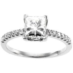 Moissanite Diamond Ring in 14k White Gold