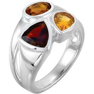 Garnet Madeira Citrine Ring in Sterling Silver