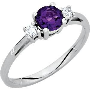 Genuine Amethyst Diamond Ring in 14k White Gold