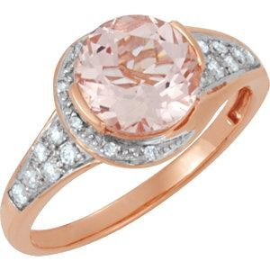 Genuine Morganite Diamond Ring in 14k Rose Gold
