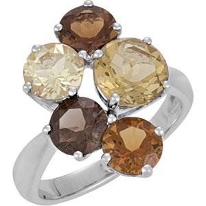 Genuine Multiple Gemstone Ring in Sterling Silver