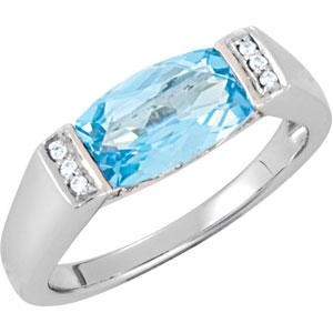 Genuine Swiss Blue Topaz Diamond Ring in 14k White Gold