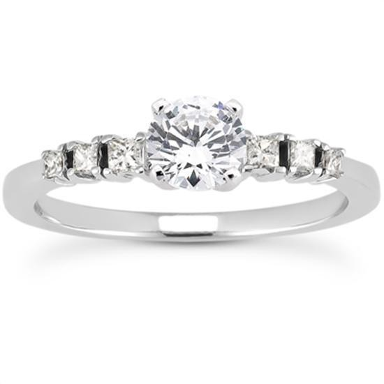 Stylish Engagement Ring with Princess Cut Side stones in 14K Yellow Gold