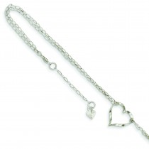 Double Strand Heart Anklet in 14k White Gold