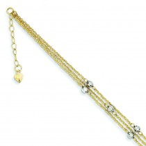 Triple Strand Anklet in 14k Two-tone Gold