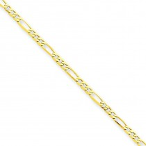 9inch Figaro Link Anklet in 14k Yellow Gold