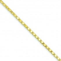 Double Sided Heart Anklet in 14k Yellow Gold