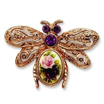 Floral Decal Bee Pin in Fashion