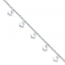 Puffed Heart Anklet in Sterling Silver