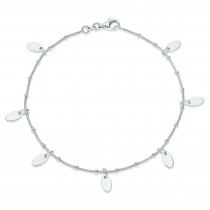 Snake Chain Oval Disk Anklet in Sterling Silver