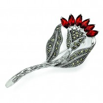 Marcasite CZ Flower Pin in Sterling Silver